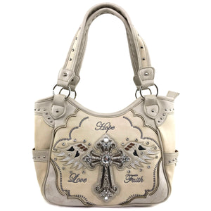 Hope Love Faith Cross Wings Tote Purse