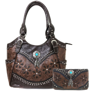 Floral Tooled Turquoise Concho Tote Purse Wallet Set