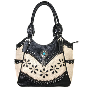 Floral Tooled Turquoise Concho Tote Purse