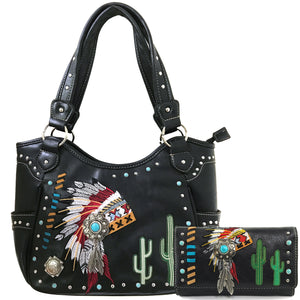Indian Chieftain Headdress War Bonnet Embroidery Tote Purse Wallet Set