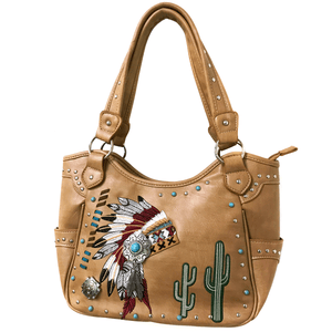 Indian Chieftain Headdress War Bonnet Embroidery Tote Purse