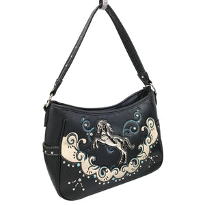 Mustang Horse Floral Embroidery Hobo Bag