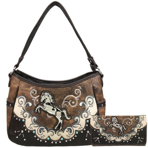 Mustang Horse Floral Embroidery Hobo Bag Wallet Set