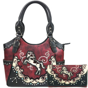 Mustang Horse Floral Embroidery Tote Wallet Set