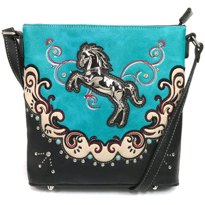 Mustang Horse Floral Embroidery Crossbody