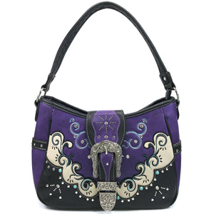 Mustang Buckle Floral Embroidery Hobo Bag