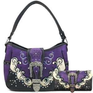 Mustang Buckle Floral Embroidery Hobo Bag Wallet Set