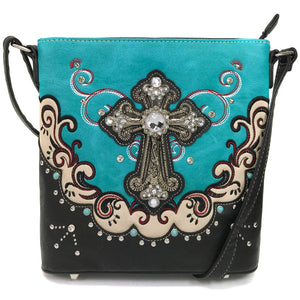 Mustang Cross Floral Embroidery Crossbody