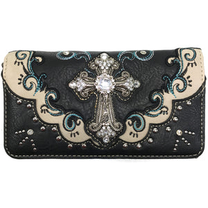 Mustang Cross Floral Embroidery Wallet