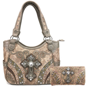 Clydesdale Cross Studded Tooled Handbag Wallet Set