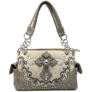 Mustang Cross Floral Embroidery Handbag