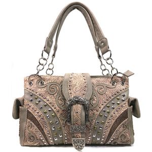 Clydesdale Buckle Studded Tooled Handbag