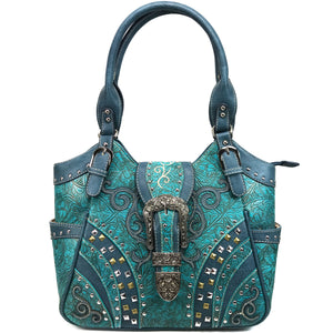 Clydesdale Buckle Studded Tooled Tote Purse