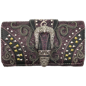 Clydesdale Buckle Studded Tooled Trifold Wallet