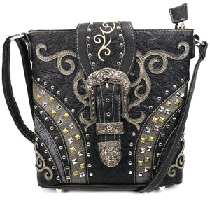 Clydesdale Buckle Studded Tooled Crossbody