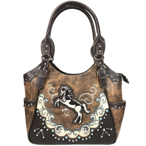Mustang Horse Floral Embroidery Tote