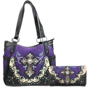 Mustang Cross Floral Embroidery Tote Wallet Set