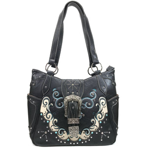 Mustang Buckle Floral Embroidery Tote
