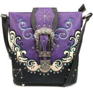 Mustang Buckle Floral Embroidery Crossbody