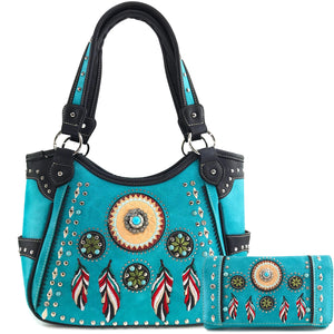 Dream Catcher Feather Tote Purse Wallet Set
