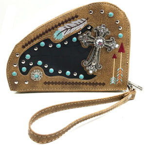 Native Feather Arrows Turquoise Studs Cross Gun Shaped Crossbody Pouch
