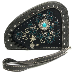 Swirly Vines Concho Embroidery Gun Shaped Crossbody Pouch