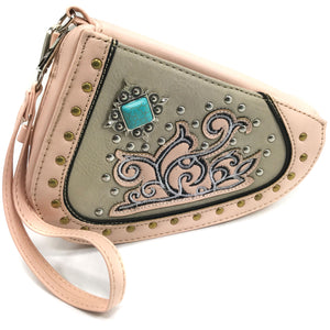Floral Turquoise Studs Cross Gun Shaped Crossbody Pouch
