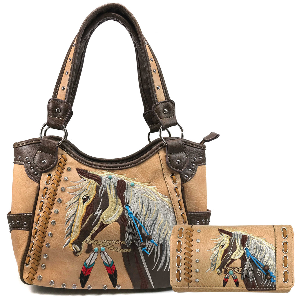 Dakota Horse Mane Embroidery Feather Tote Concealed Carry Purse Wallet Set