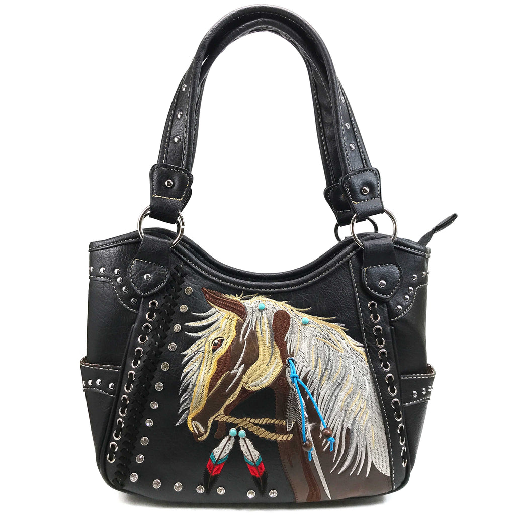 Dakota Horse Mane Embroidery Feather Concealed Carry Tote Purse