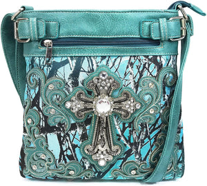 Camouflage Bling Shine Floral Cross Crossbody