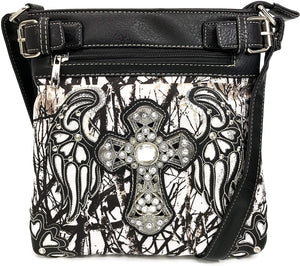 Camouflage Bling Shine Cross Wings Crossbody
