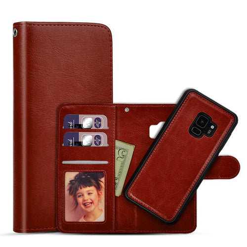 2-Piece Leather Wallet with Removable Phone Case - Galaxy Card Cases
