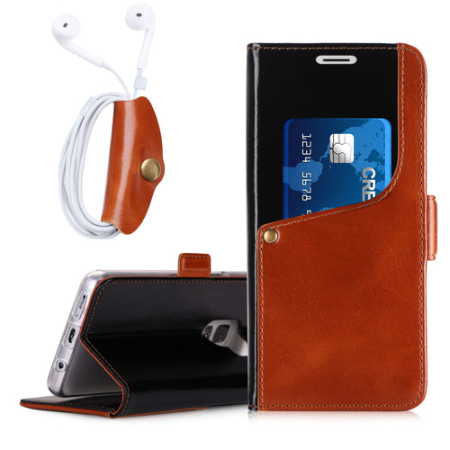 Galaxy S9 Luxurious Genuine Cowhide Leather Wallet Case with Free Earphone Case - Galaxy Card Cases
