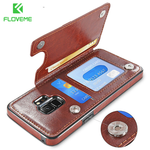 Retro Leather Case For Samsung Galaxy S8 S9 - Galaxy Card Cases