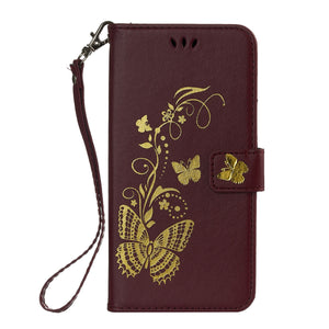 Gilding Butterfly Leather Phone Case Drop-proof for Samsung Galaxy S9 - Galaxy Card Cases