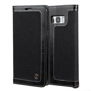 Magnetic Flip Card Wallet Phone Case  for Samsung S8 (Black) - Galaxy Card Cases