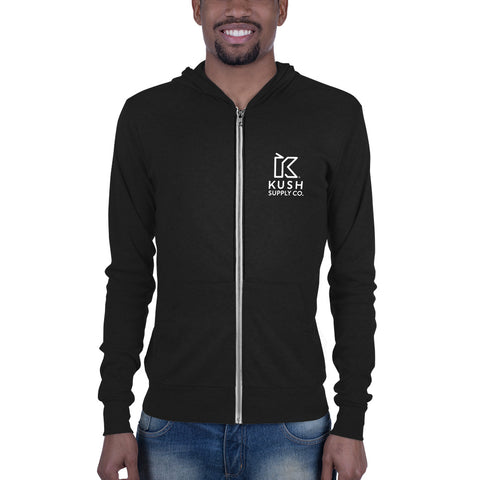Kush Supply Co Left Chest Stacked Unisex Lightweight Zip Hoodie