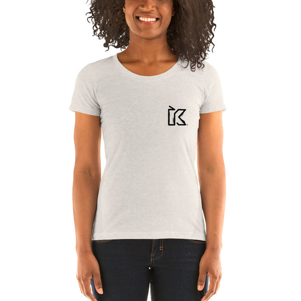 Kush Supply Distressed K Left Chest Ladies Triblend Tee - Light Colors