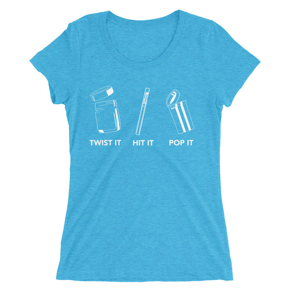"""Twist It, Hit It, Pop It"" Ladies' Triblend Short Sleeve T-Shirt - Dark Colors"