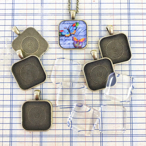 PUFFY SQUARE PENDANT KIT silver