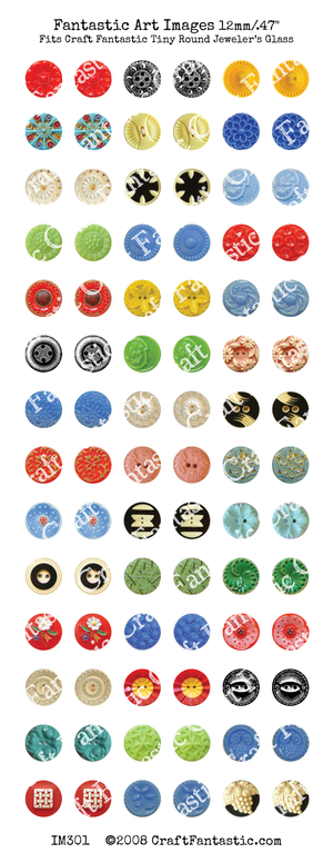 BUTTONS tiny round glass size
