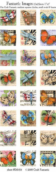 BUTTERFLIES medium squares & circles, small ovals, hearts
