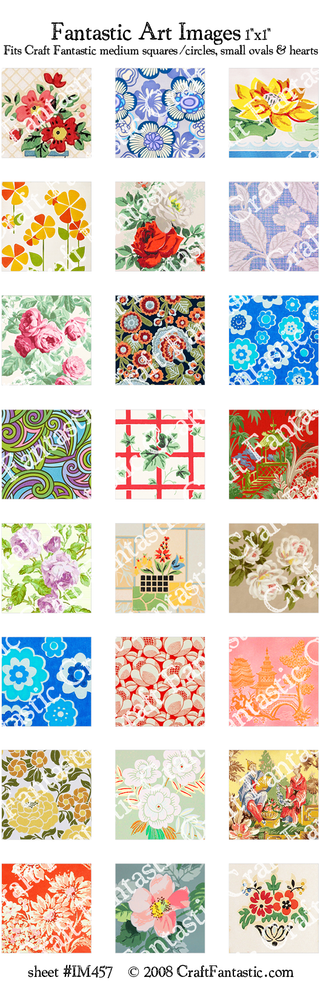 WALLPAPER medium squares & circles, small ovals, hearts
