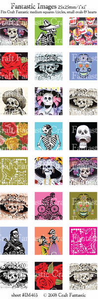 DAY OF THE DEAD medium squares & circles, small ovals, hearts