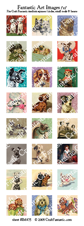 DOGS medium squares & circles, small ovals, hearts