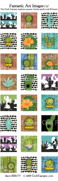 Cactus medium squares & circles, small ovals, hearts
