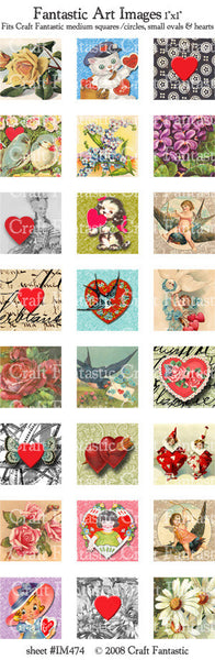 VALENTINES medium squares & circles, small ovals, hearts