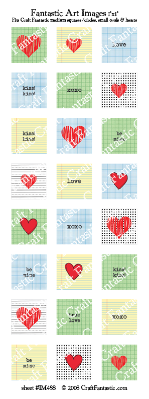 GRAPHIC VALENTINE medium squares & circles, small ovals, hearts