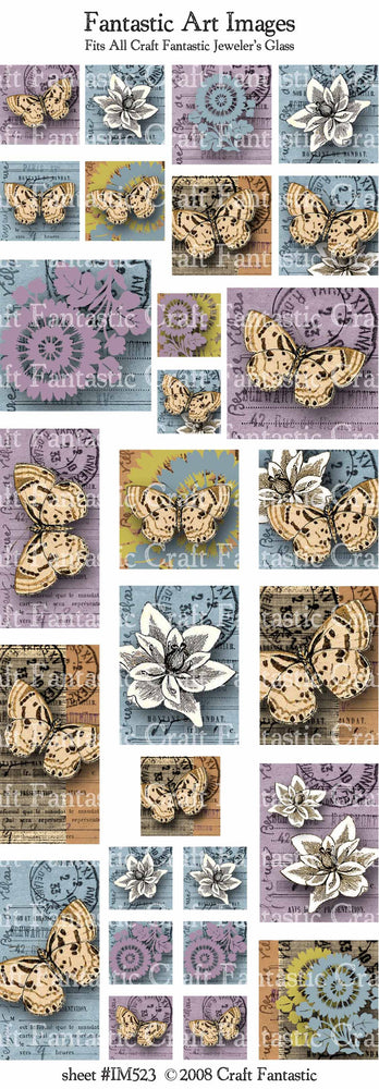 Woodblock Butterflies Image Sheet