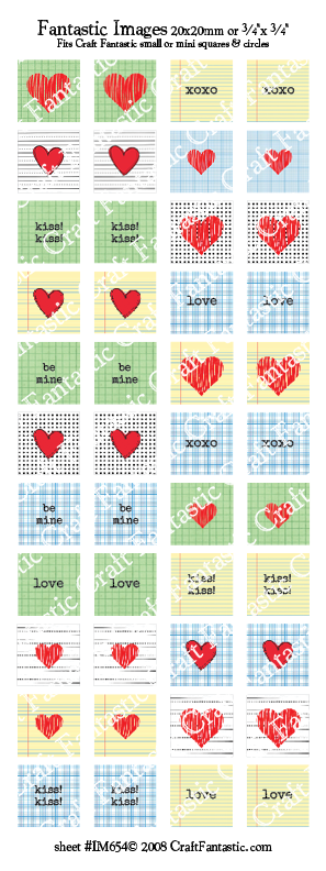 GRAPHIC HEARTS mini & small glass sizes